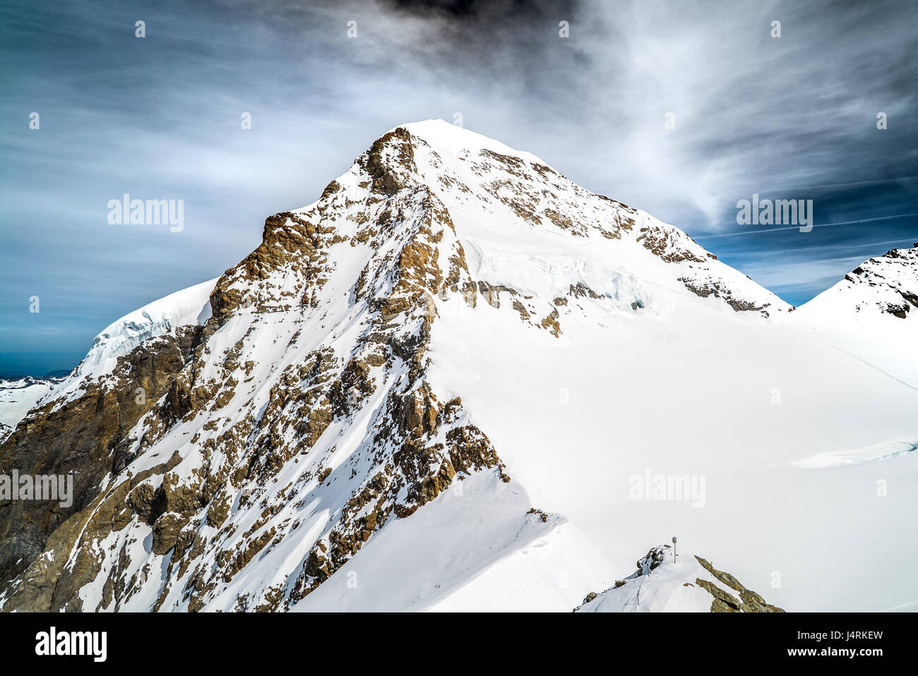 Jungfrau, the highest point in Europe and the most iconic mountain in Switzerland. - Stock Image