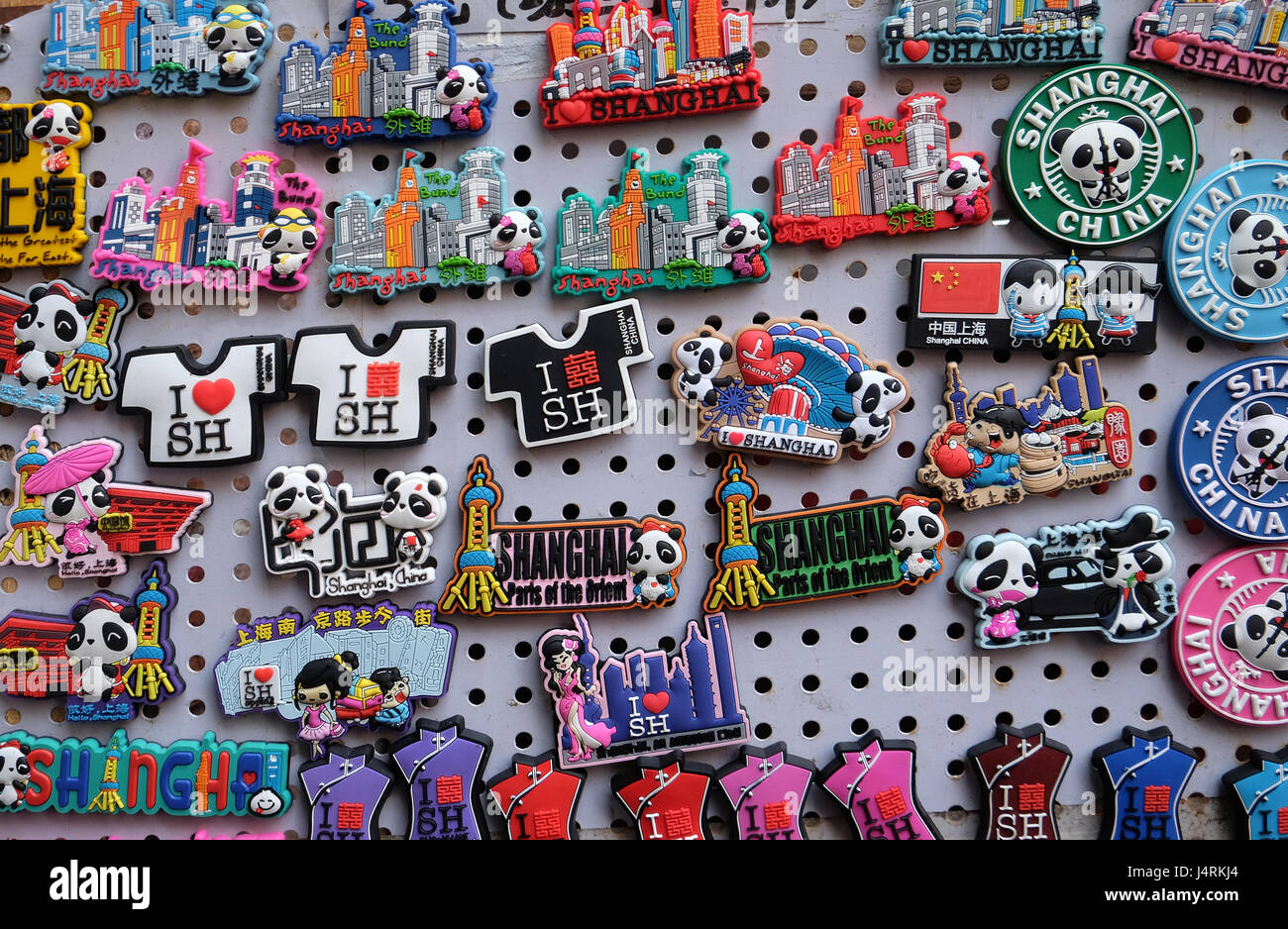 Souvenirs display in a typical shop. Qibao water village is Shanghai - Stock Image