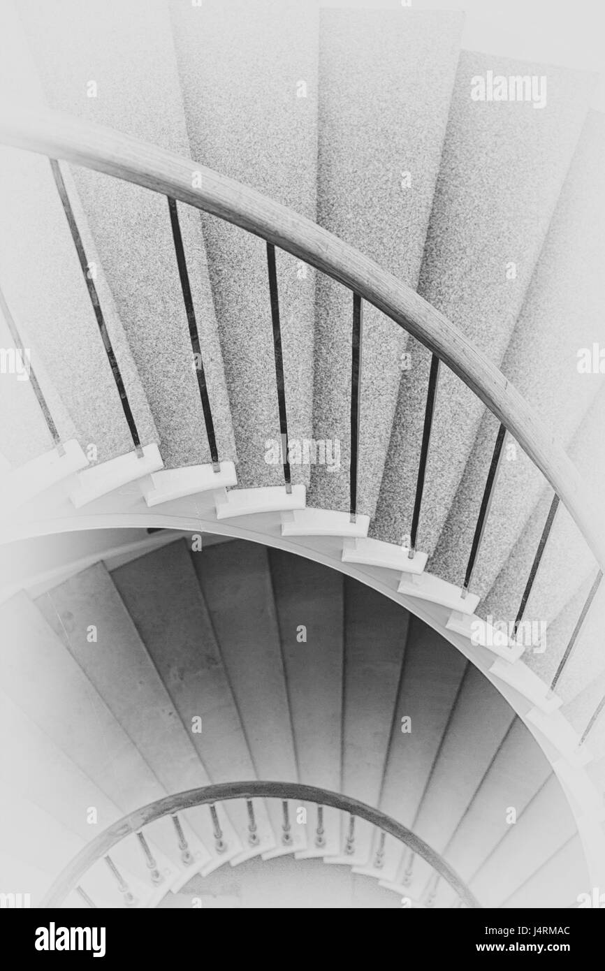 Spiral Circle Staircase Decoration Interior   Black And White Vintage  Filter Processing