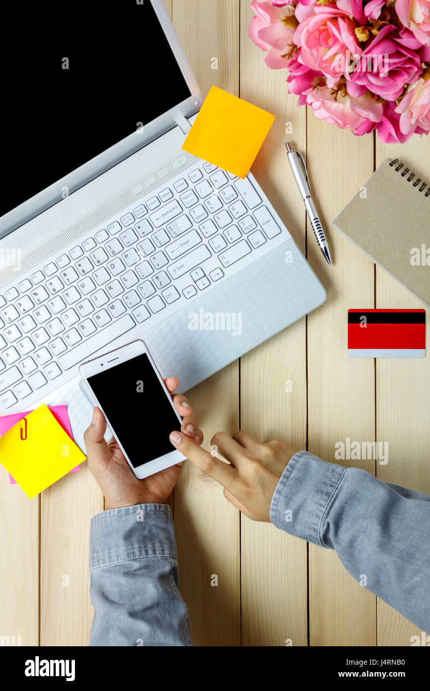 office desk laptop computer notebook mobile. Top View Business Office Concept Person Using Mobile Phones With Laptop Andcredit Card,notebook,flower On Desk. Desk Computer Notebook
