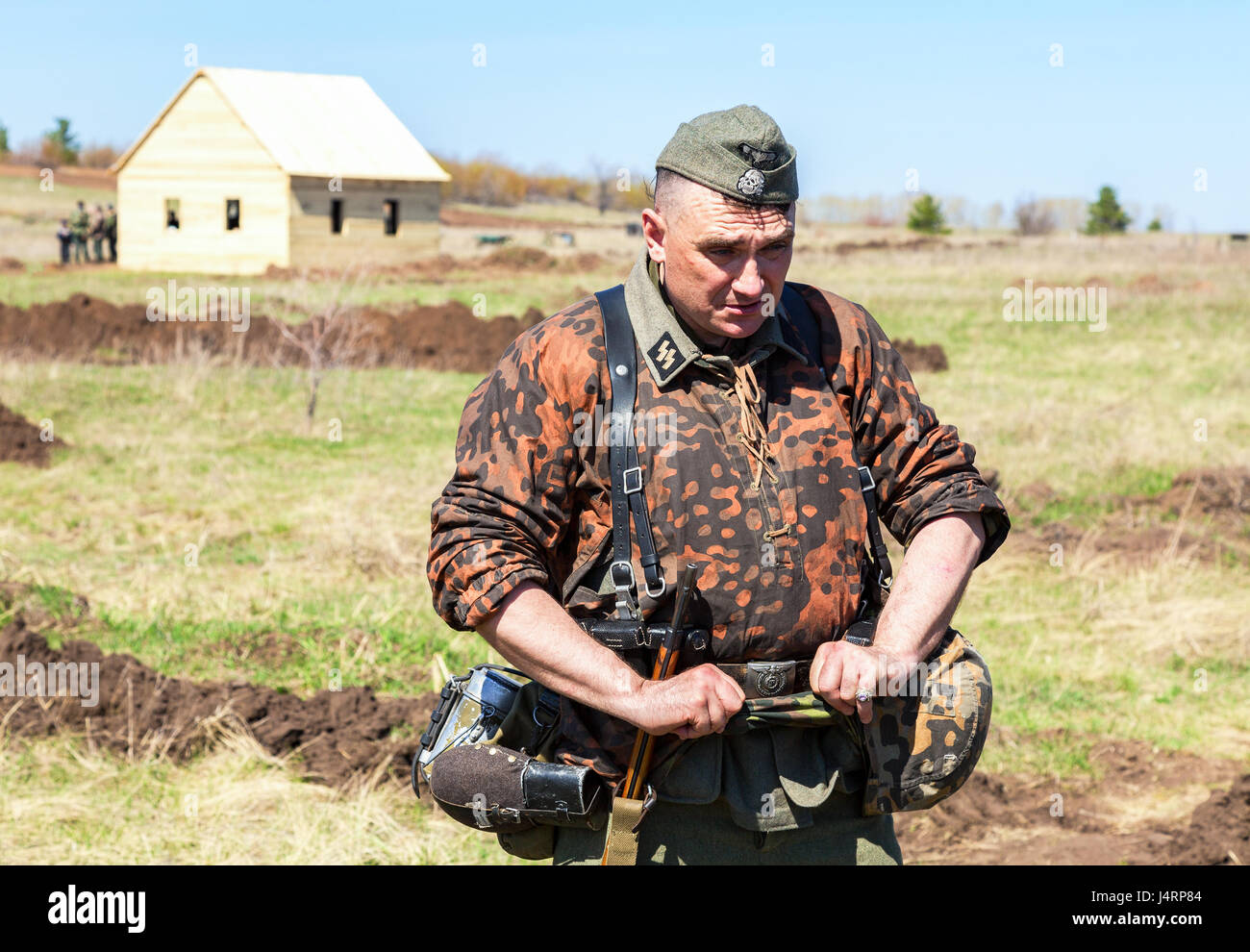 Samara, Russia - April 30, 2017: Unidentified member of Historical reenactment in German Army uniform during historical - Stock Image