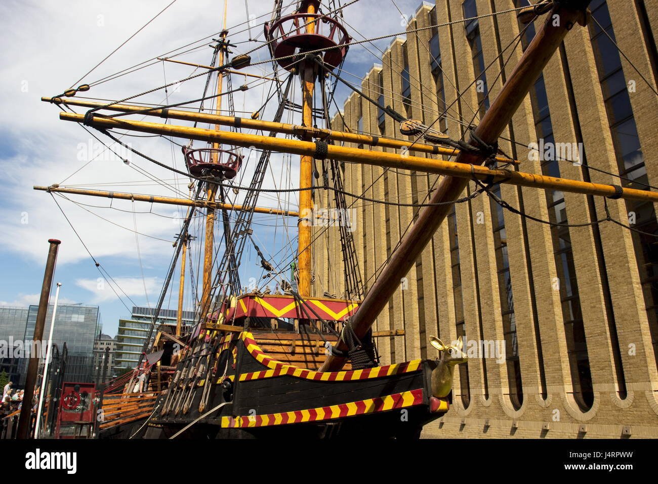 Golden Hinde 11 is a reconstruction of the original ship which was captained by Sir Francis Drake and launched in - Stock Image