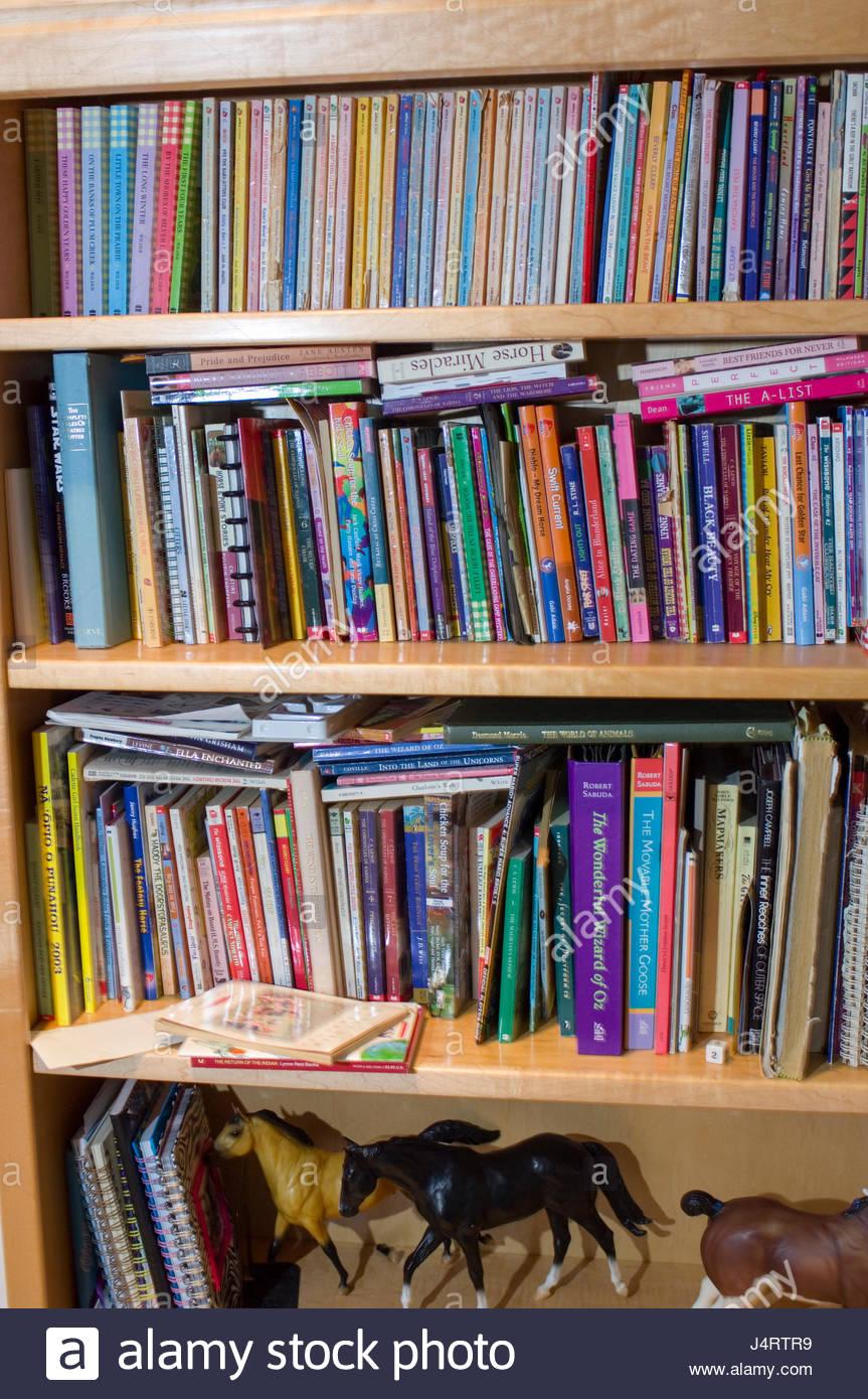Bookshelf In A Teenage Girls Room