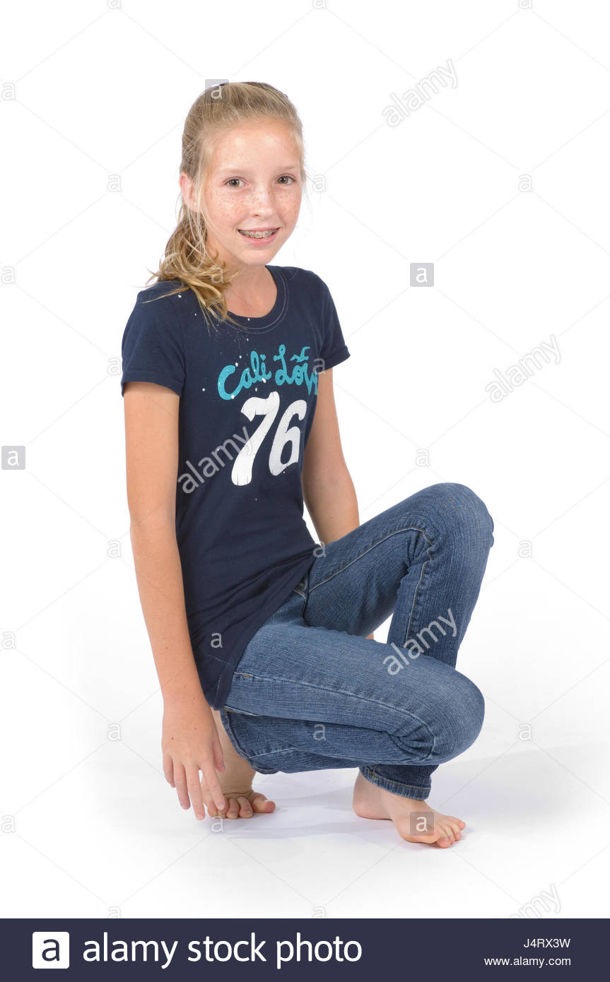 Young Pre Teen Girl Female Woman Torso Vertical Format: Preteen Girl With Blond Hair And Freckles Wearing Blue