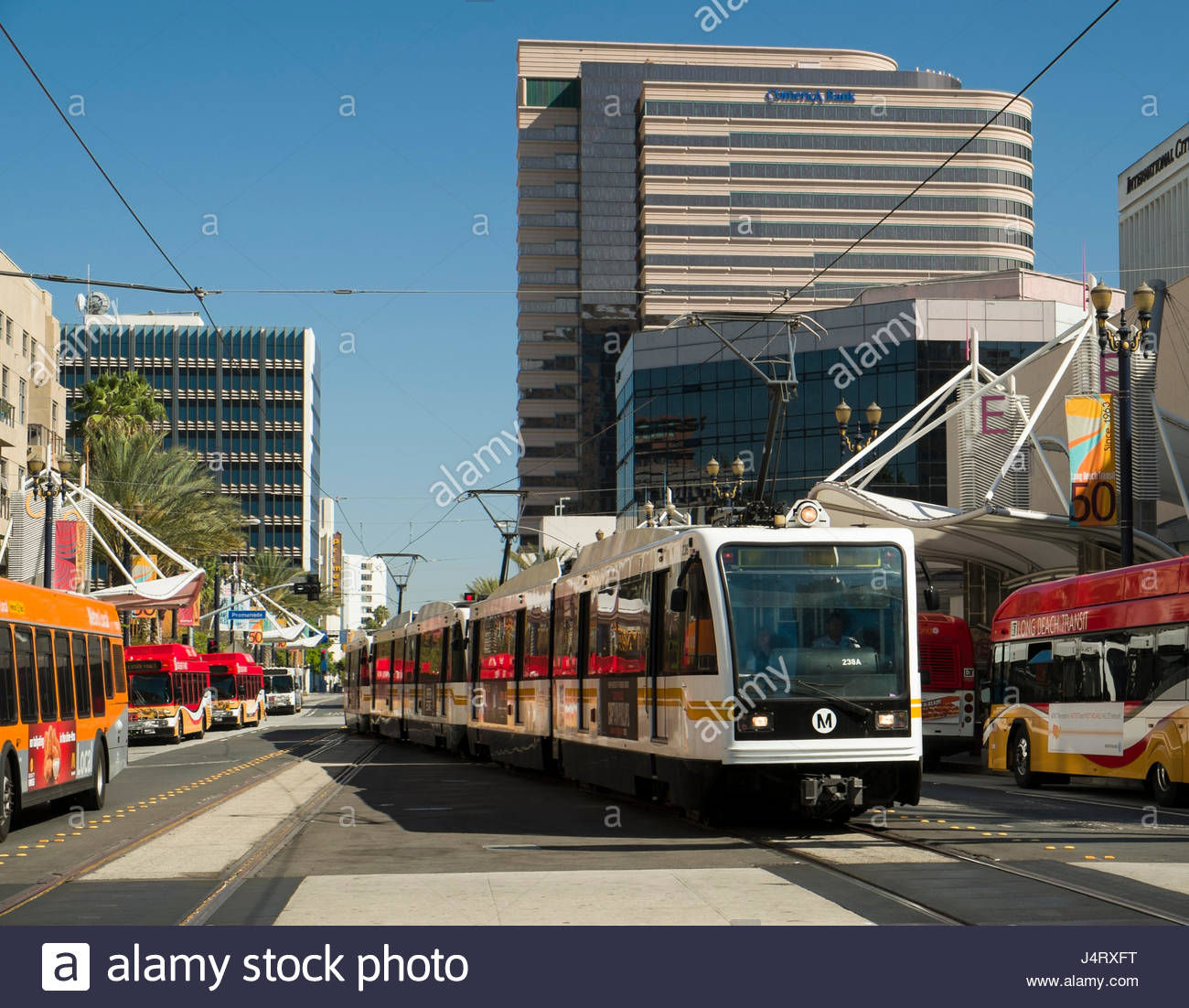 Los Angeles Mall: Metro Rail Train At The Long Beach Transit Mall, Long