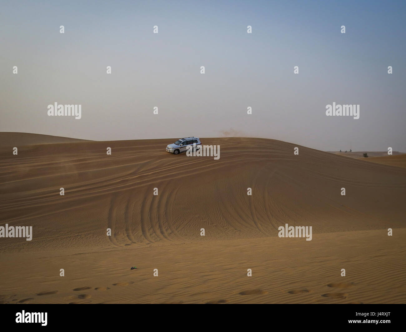 desert safari, dune bashing in a 4 wheel drive Stock Photo