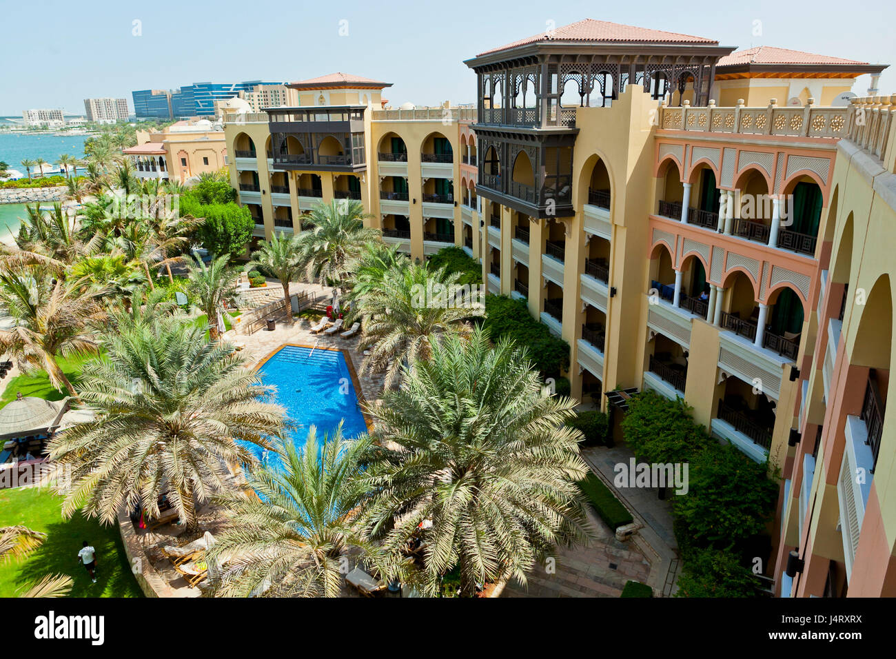 the shangri la hotel abu dhabi, views across the canal Stock Photo