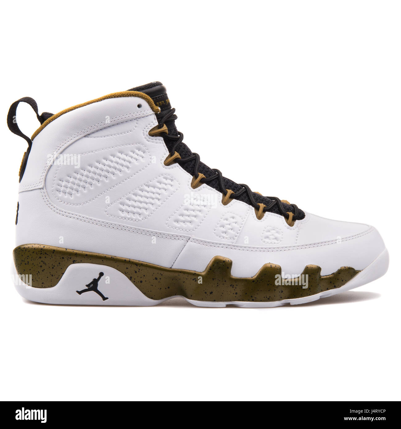 8bf974f90490 Nike Air Jordan 9 Retro White Black Militia Green High Leather Sneakers -  302370-109