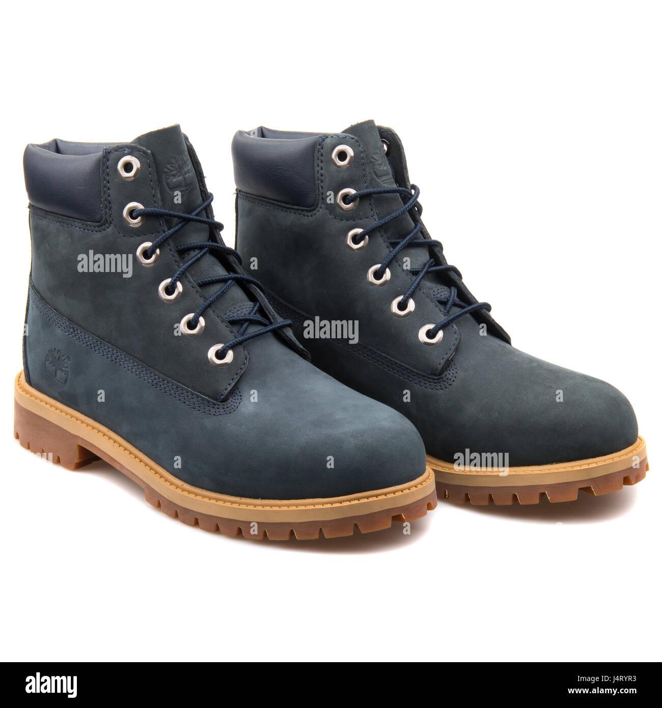 Timberland Junior's 6 Inch Premium Waterproof Navy Blue Boot