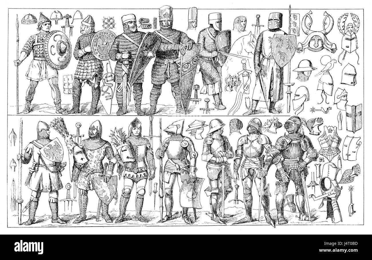 Art of war, clothing, armor and weapons through medieval times - Stock Image