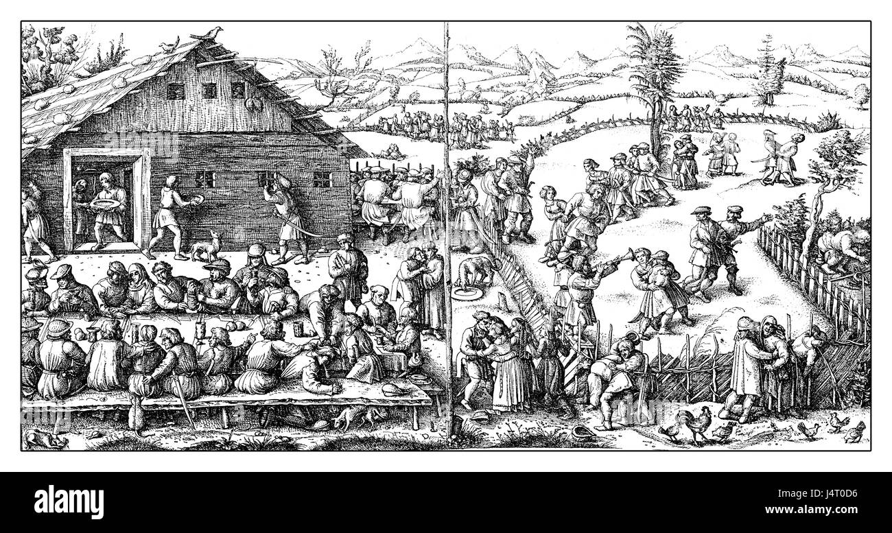 Middle Ages rural fest from Daniel Hopfer. Peasant celebrated several festivals at harvest time and during the year, - Stock Image