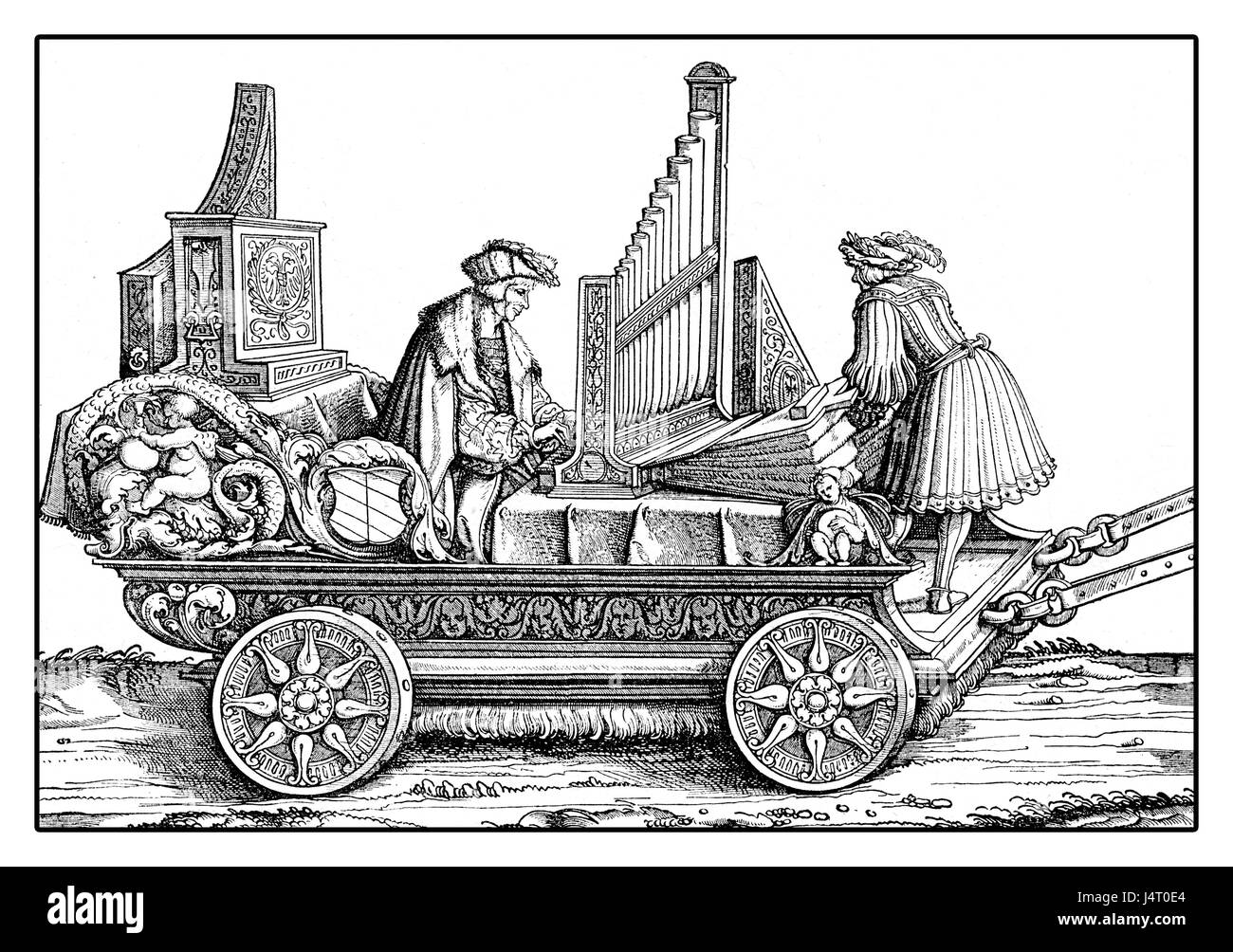 Carriage with organ and musicants playing in festive procession, from Hans Burgkmair's Triumph of  Maximilian - Stock Image
