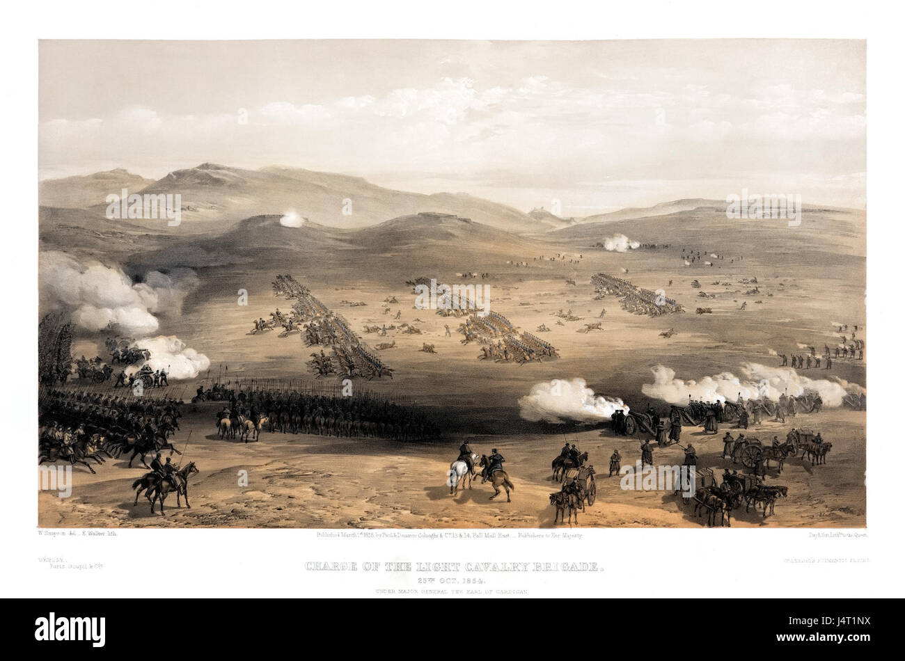 William Simpson   Charge of the light cavalry brigade, 25th Oct. 1854, under Major General the Earl of Cardigan - Stock Image