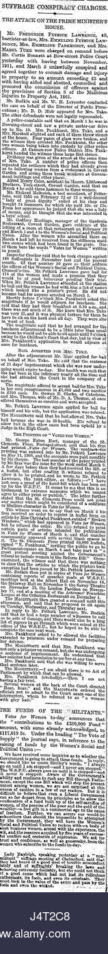 The Times (1912) Suffrage Conspiracy Charges - Stock Image