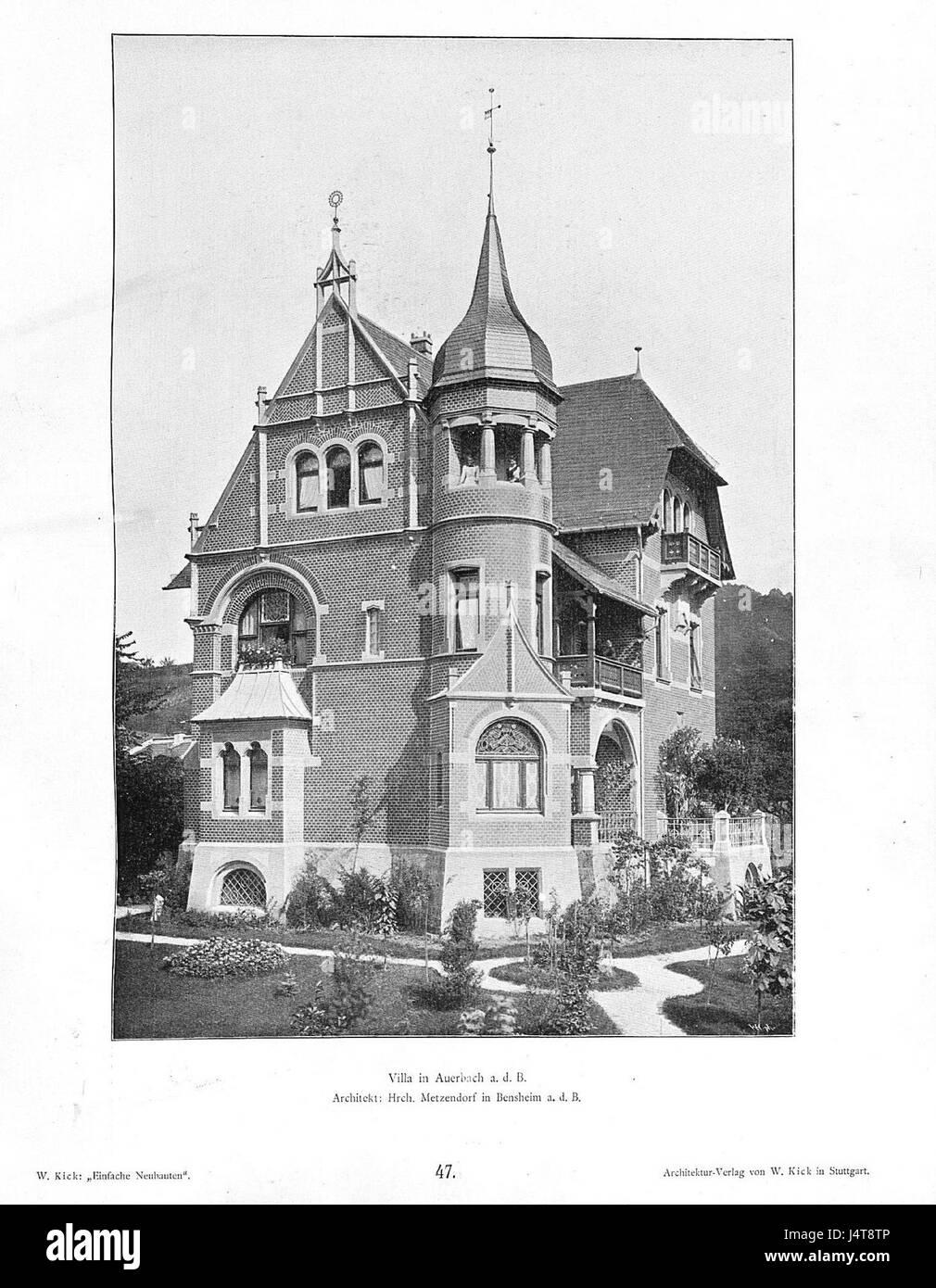 Architekt Bensheim wilhelm kick, einfache neubauten, stuttgart 1890, villa in auerbach