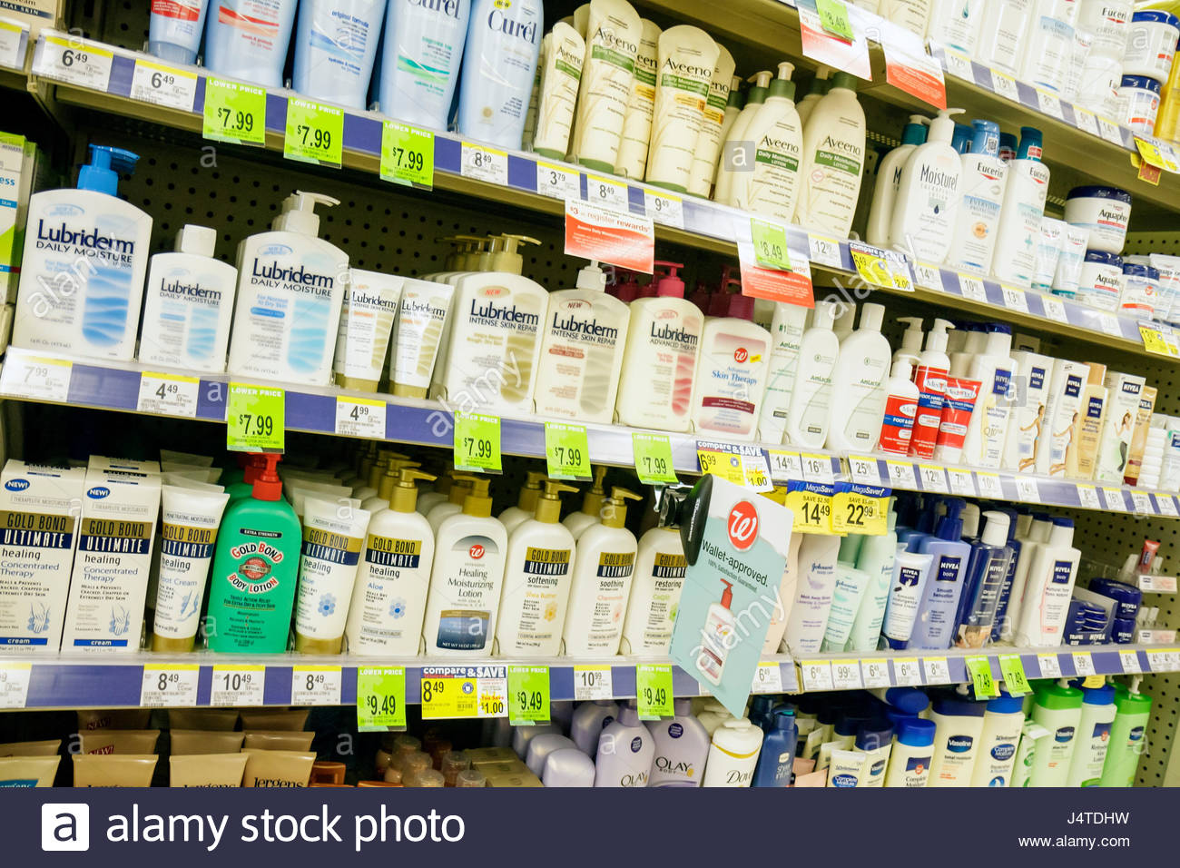 Miami Beach Florida Walgreens drug store pharmacy chain business product display skincare moisturizer moisture Lubriderm - Stock Image