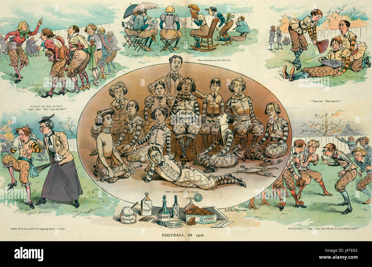 Football in 1906 -  Illustration shows a lighthearted look at the game of football as though it were played by dainty - Stock Image