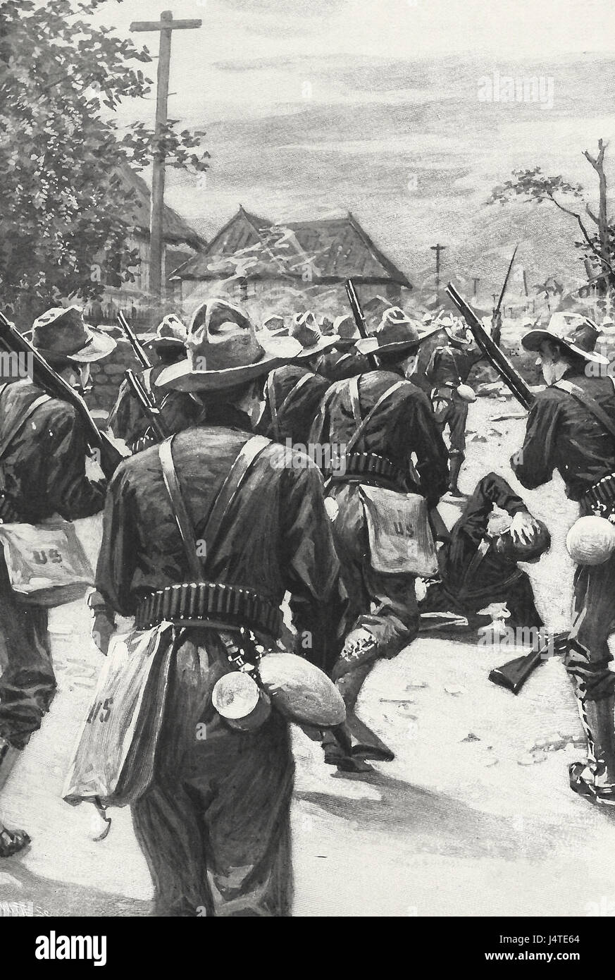 Resistance from the houses in Malate - Volunteers from the First California in conflict with the Resistance - 1899 - Stock Image