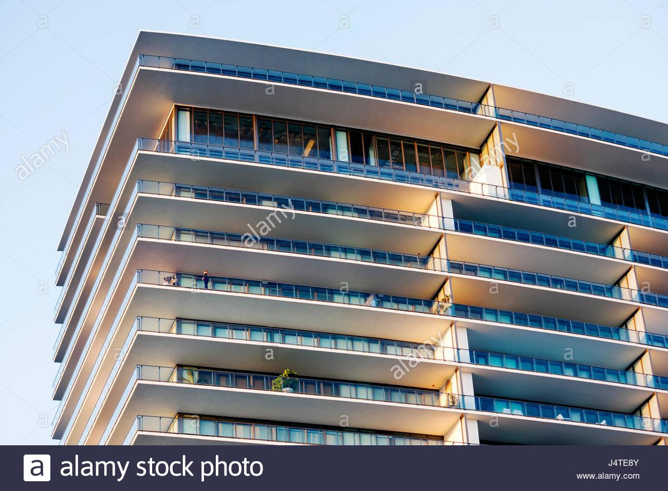 Miami Beach Florida South Pointe Apogee Condominium luxury high-rise high-rise balcony real estate dwelling Sieger - Stock Image