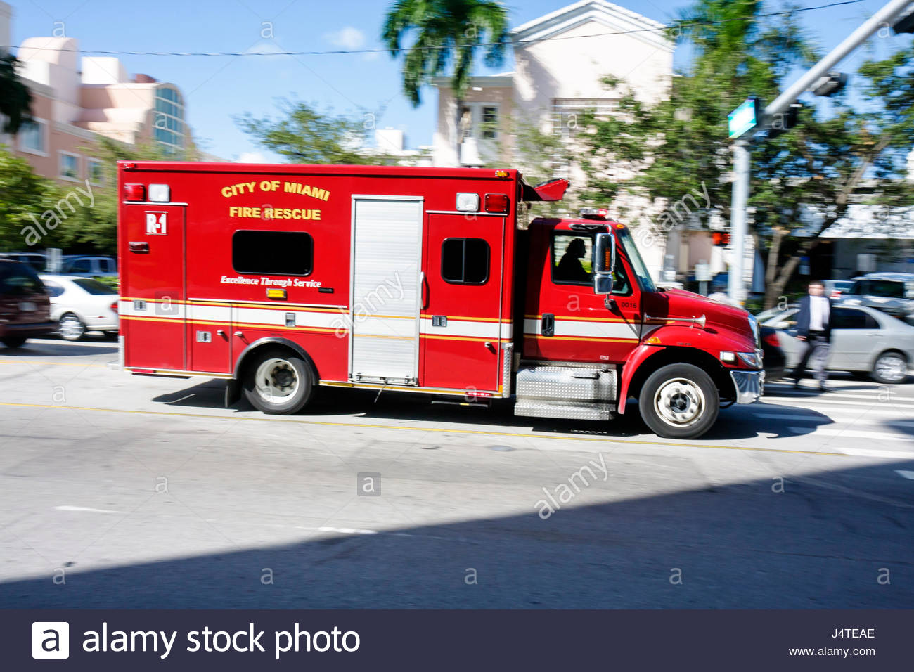 MiamiMiami Florida-Dade Fire Rescue truck emergency vehicle ambulance first responder paramedic EMT - Stock Image