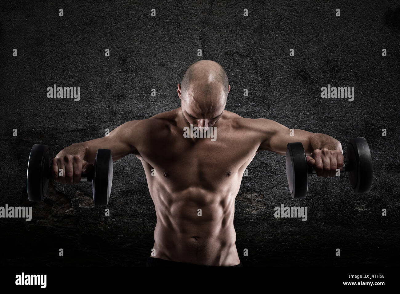 Athletic man workout - Stock Image