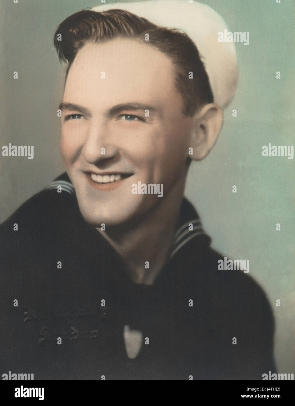Tinted Color Portrait , Young Enlisted Sailor, World War 2