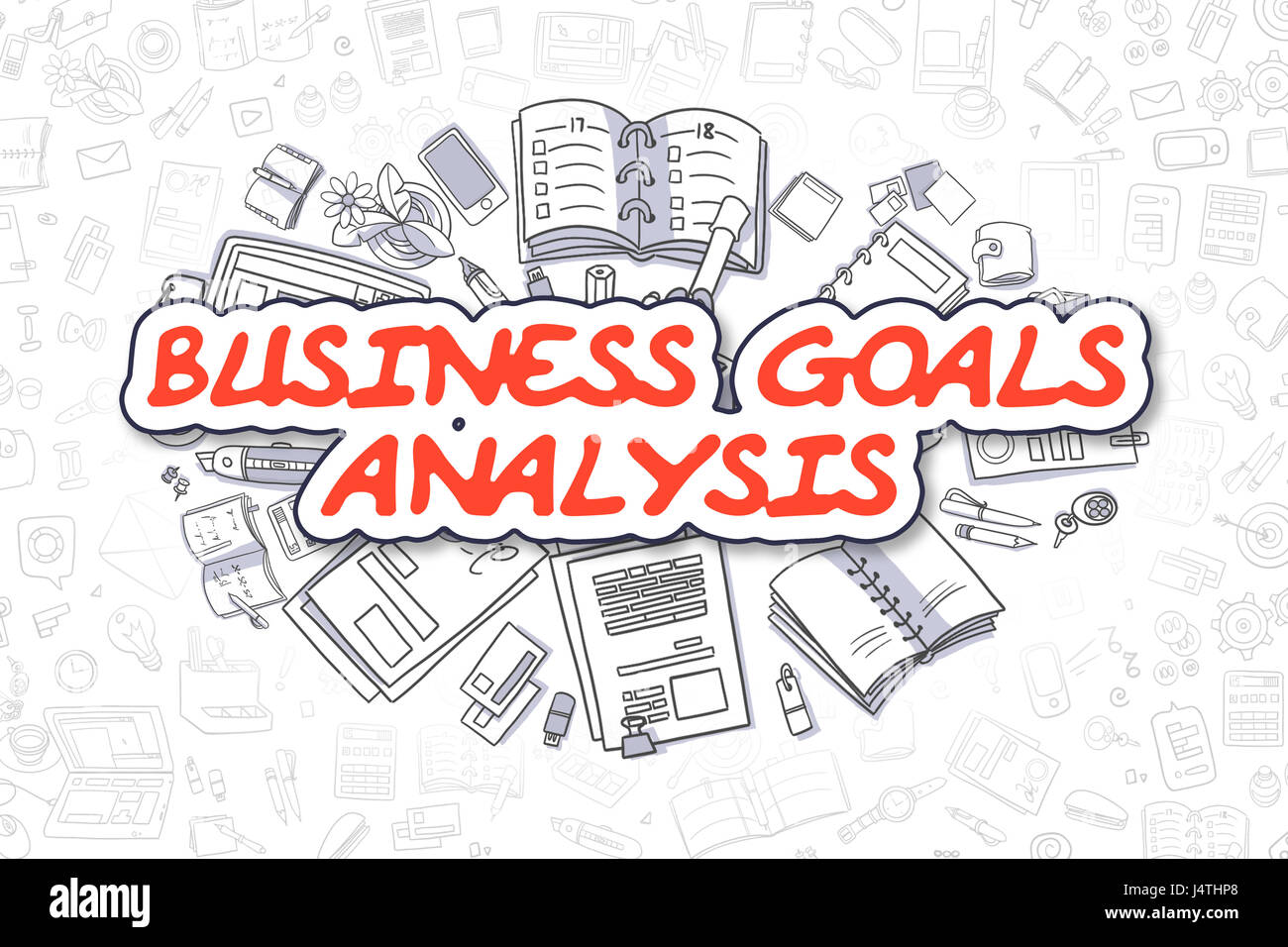Business Goals Analysis - Doodle Red Text. Business Concept. - Stock Image