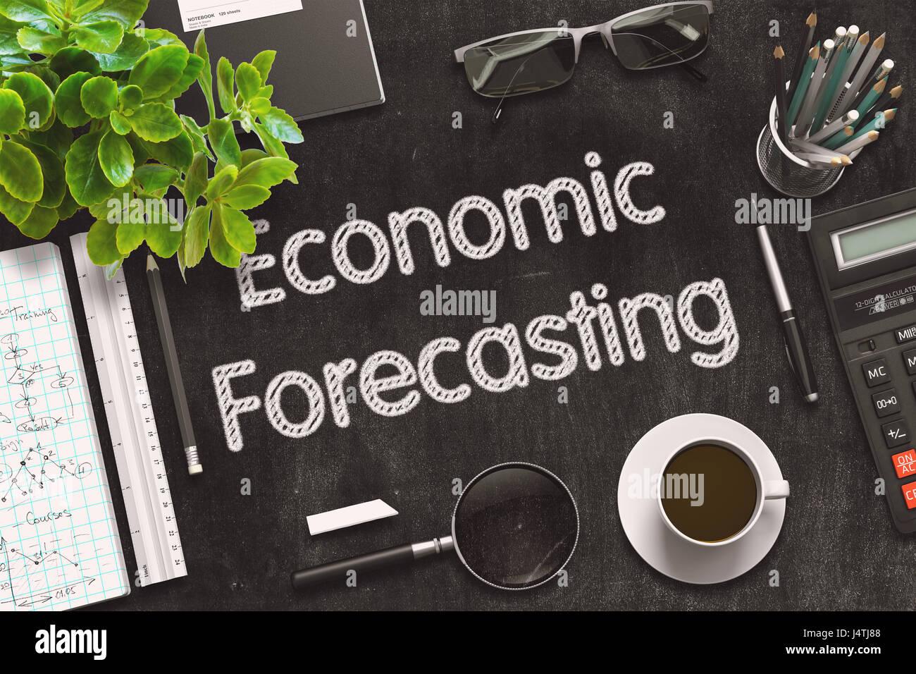 Economic Forecasting on Black Chalkboard. 3D Rendering. Stock Photo