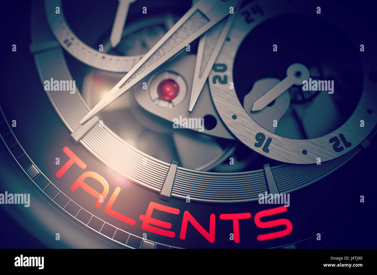 Talents on the Fashion Pocket Watch Mechanism. 3D. - Stock Image