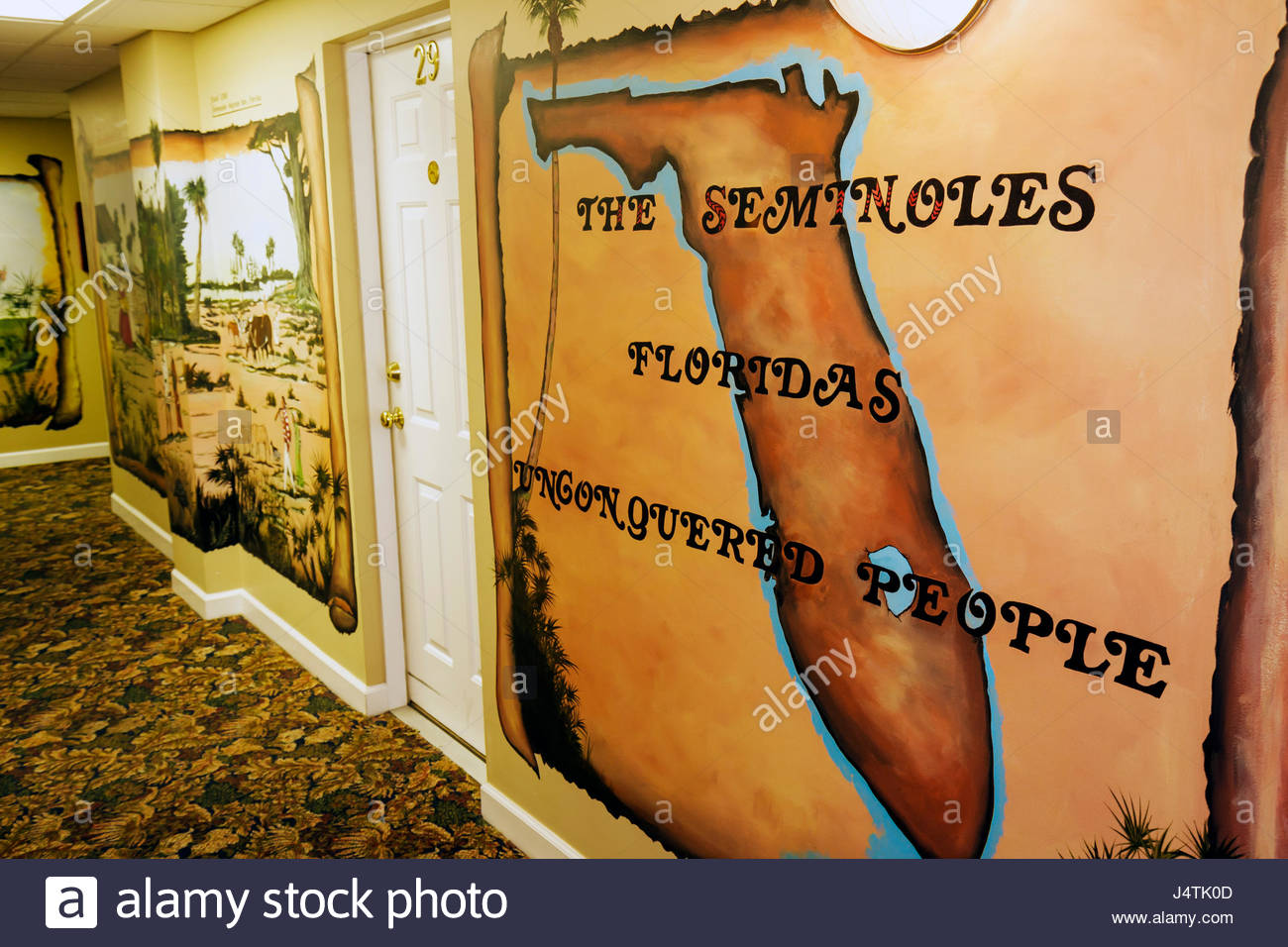 Florida Indiantown Seminole Country Inn historic hotel 1926 National Register of Historic Places lodging interior - Stock Image