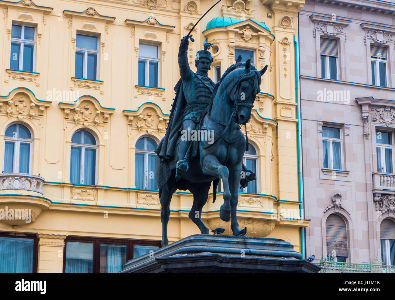 Ban Josip Jelacic monuemt in the central square in Zagreb, Croatia. Stock Photo