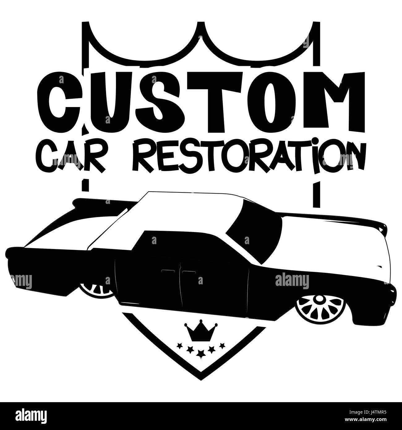 Vector illustrated custom car restoration logo with luxury car. - Stock Image