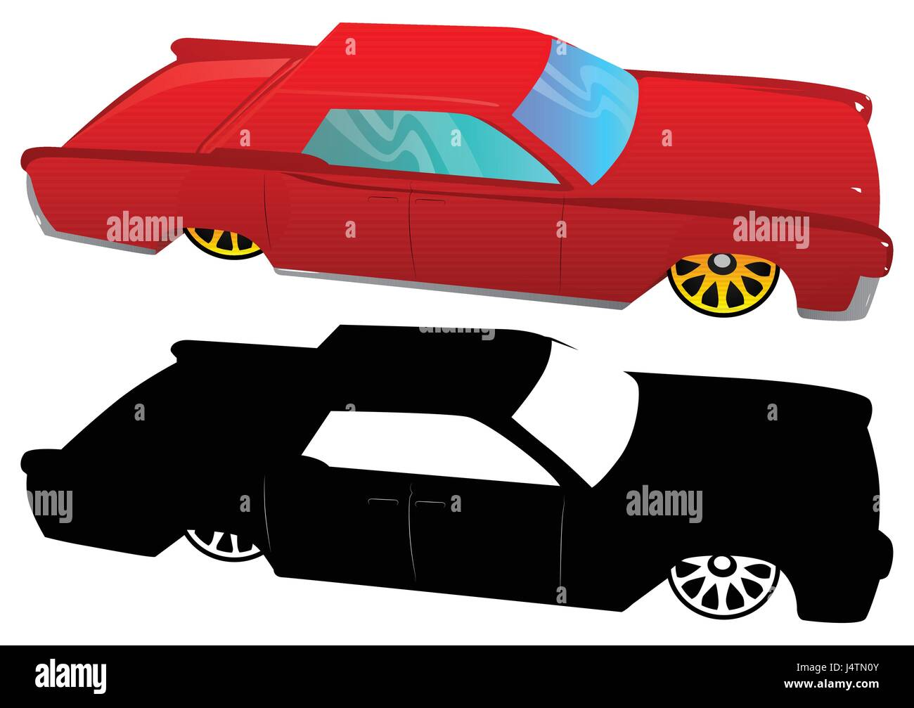 Vector illustrated cartoon 60s luxury car on white background. - Stock Vector