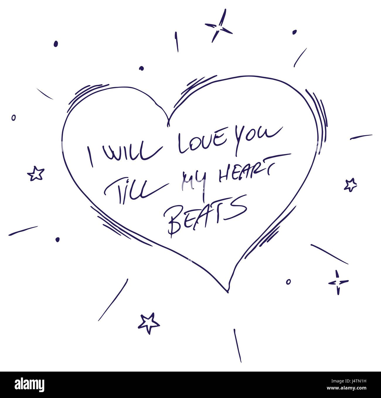 Inspirational quote - I Will Love You Till My Heart Beats. For postcard and poster graphic design. - Stock Image