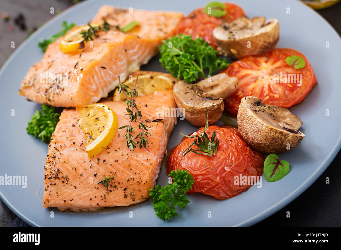 Baked Salmon Fish Fillet With Tomatoes Mushrooms And Spices Diet