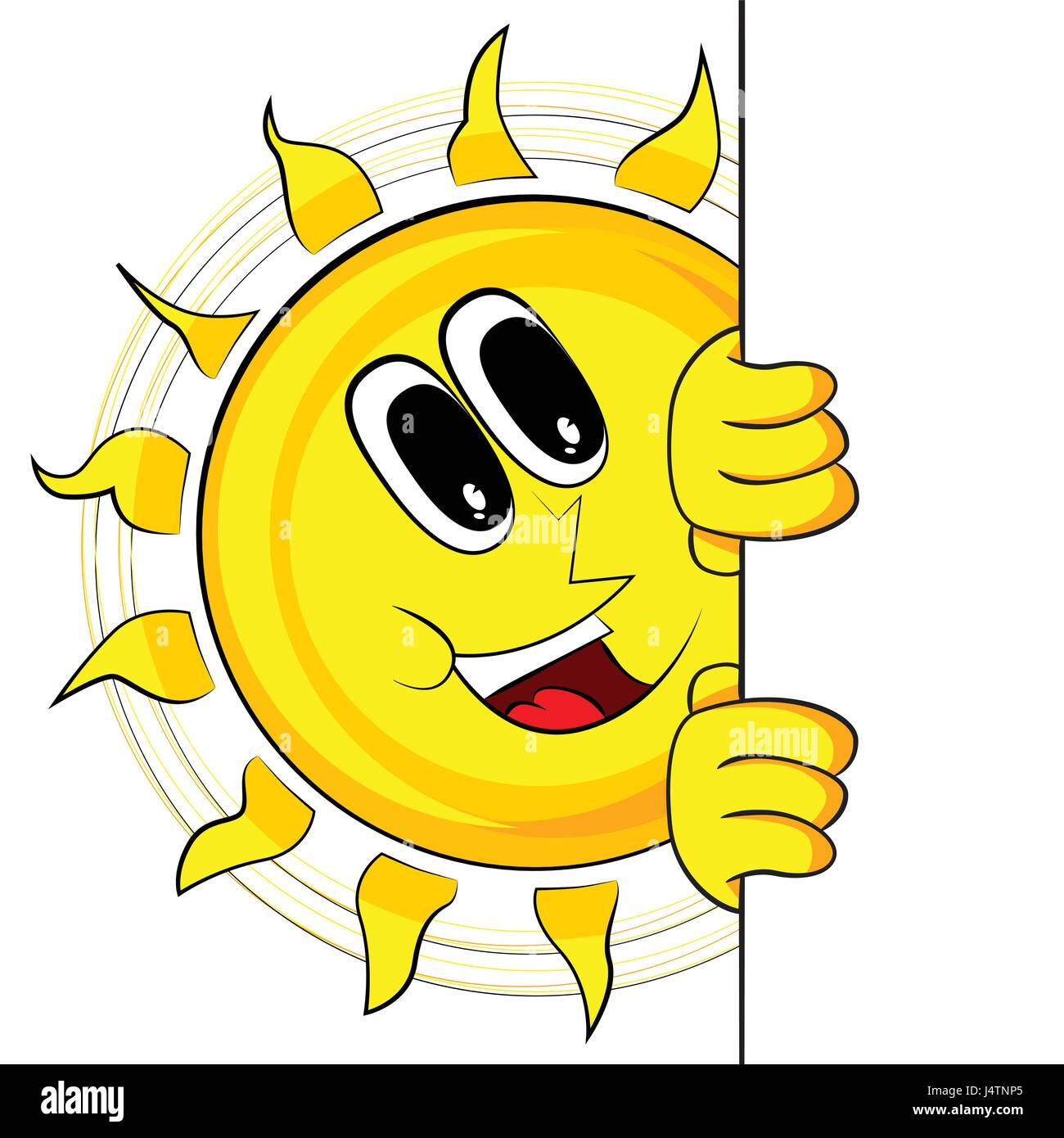 happy sun with banner mascot character vector