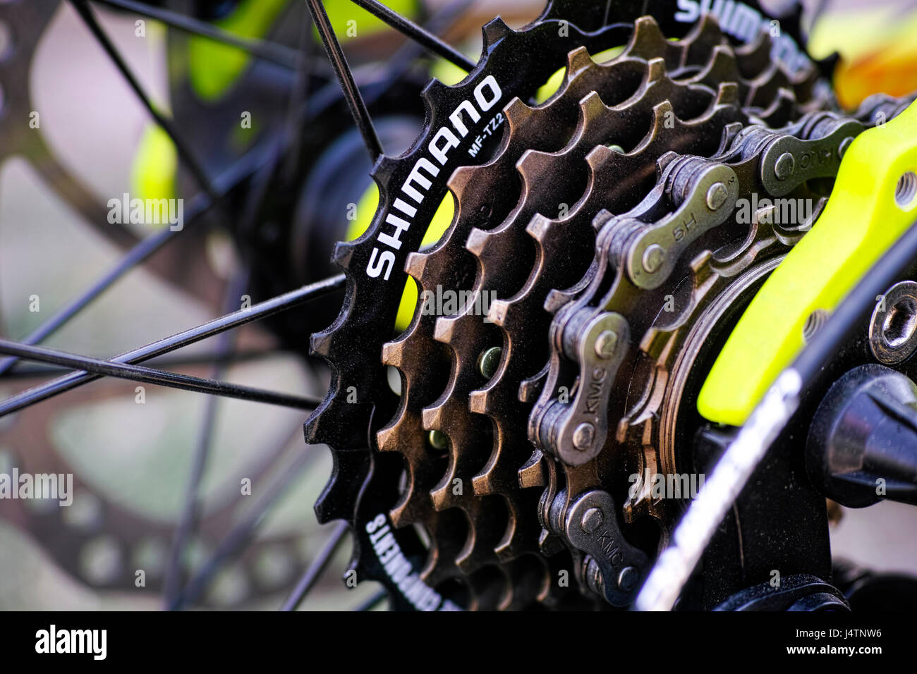 Tambov, Russian Federation - May 07, 2017 Shimano gear cassette on bicycle. - Stock Image