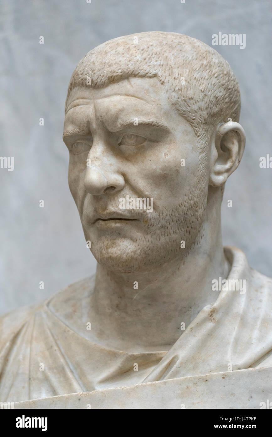 Rome. Italy. Portrait bust of Roman Emperor Philip the Arab (ca. 204 A.D. - 249 A.D.), Braccio Nuovo, Museo Chiaramonti, - Stock Image