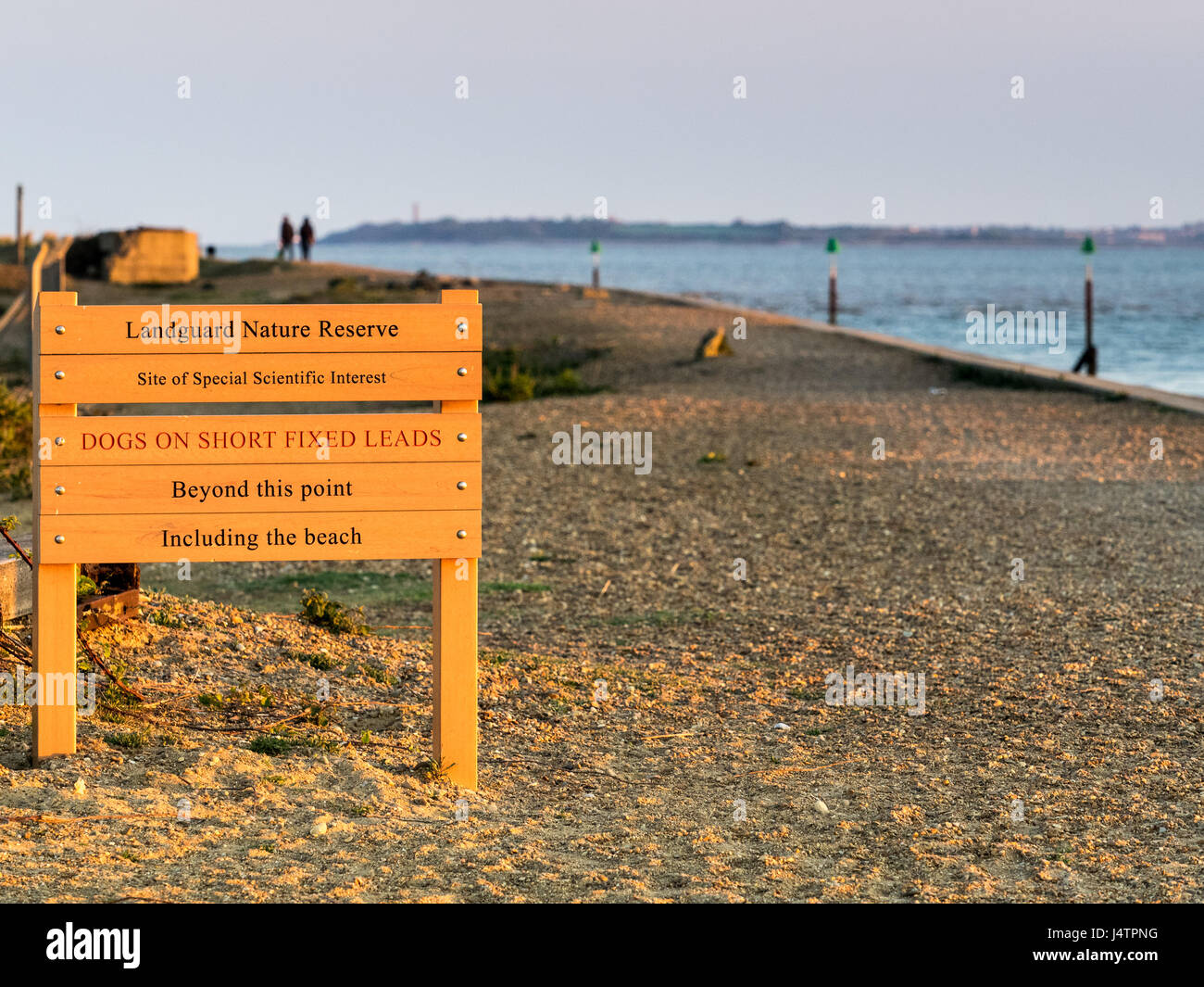 Visitors information sign at the entrance to the Landguard Nature Reserve, a site of Special Scientific Interest - Stock Image
