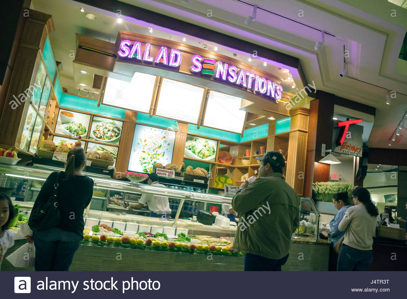 Palm Beach Florida Gardens The Gardens Mall food court Salad Stock ...