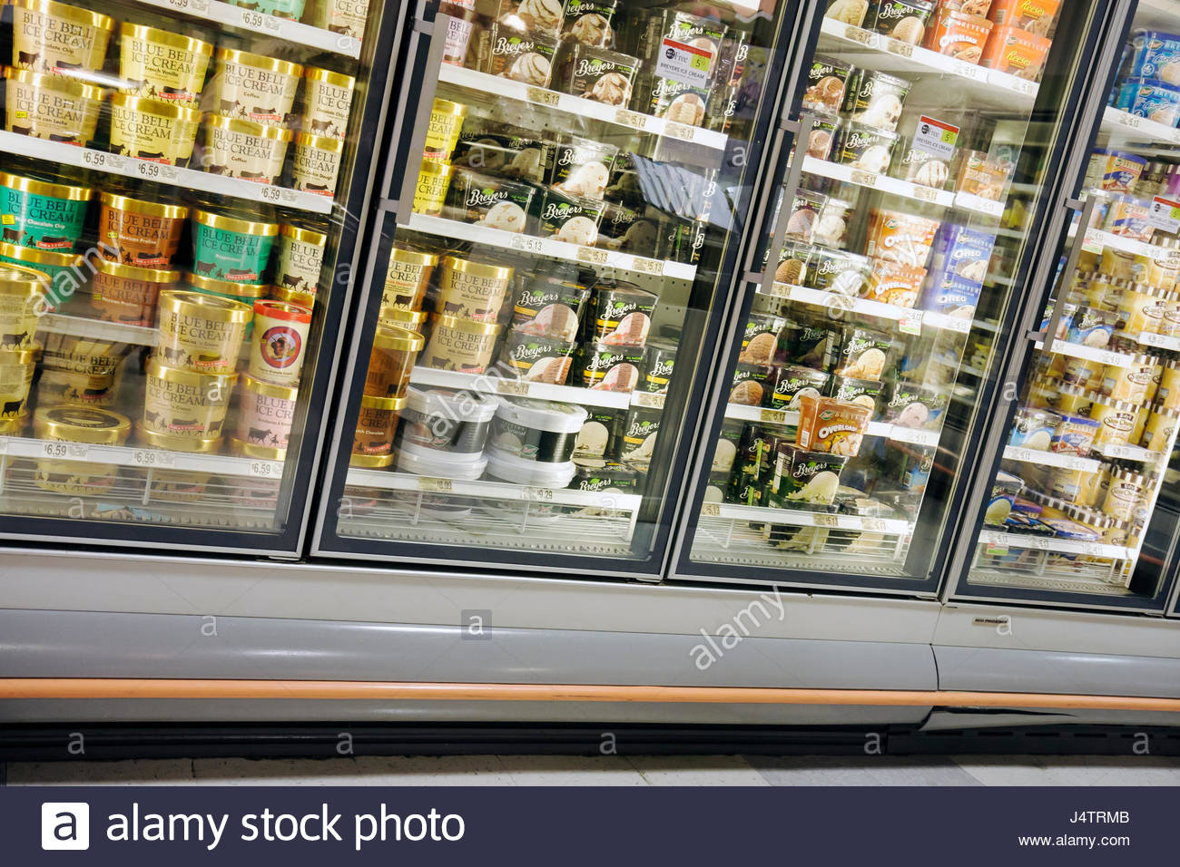 Palm Beach Florida Publix Grocery Store supermarket company business shopping groceries frozen foods freezer case - Stock Image