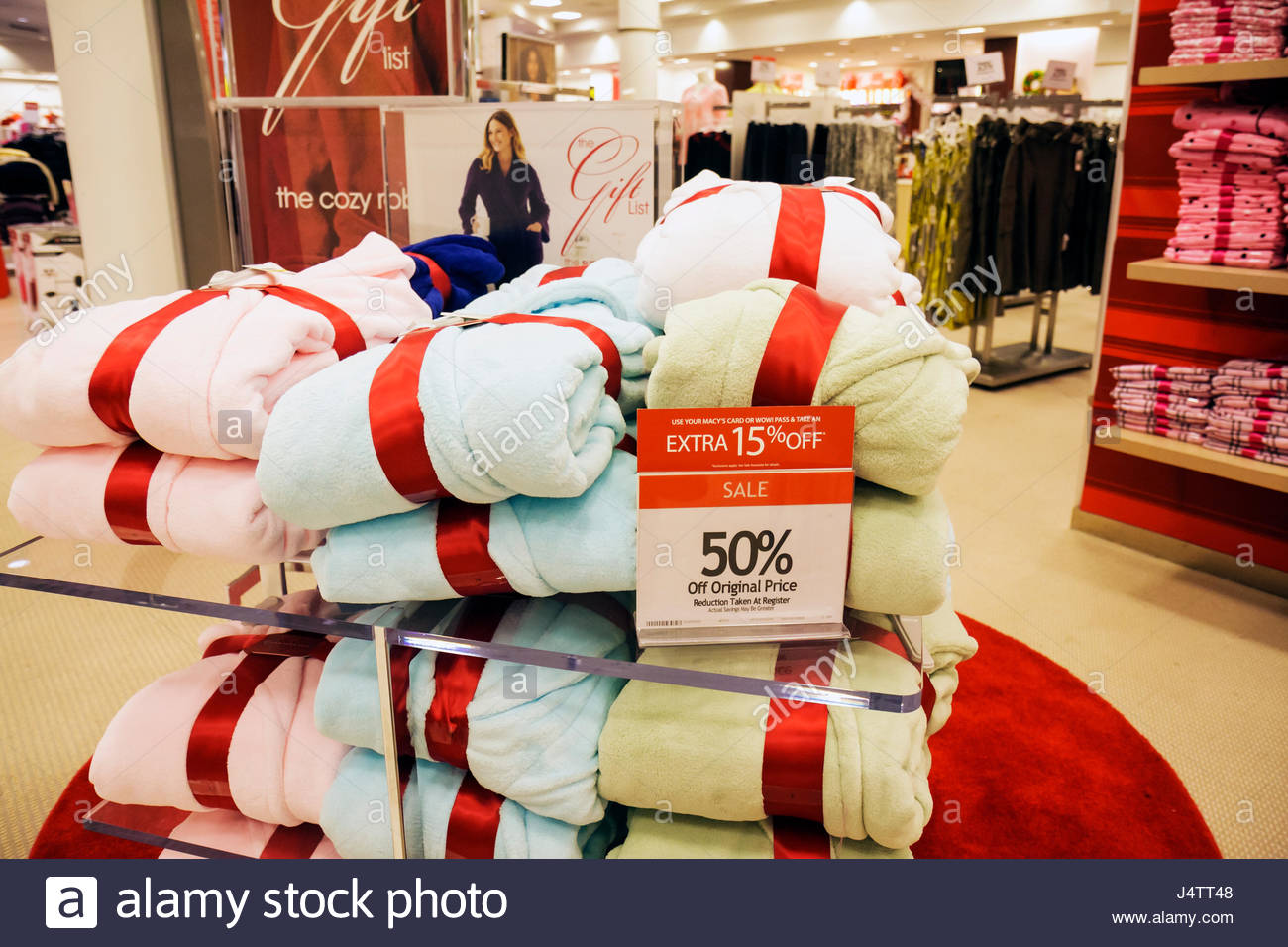 West Palm Beach Florida CityPlace Macy's department store business retail fashion shopping display sleepwear - Stock Image