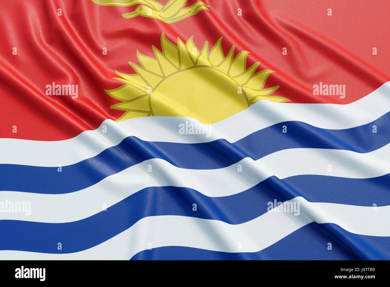 Kiribati flag. Wavy fabric high detailed texture. 3d illustration rendering - Stock Image