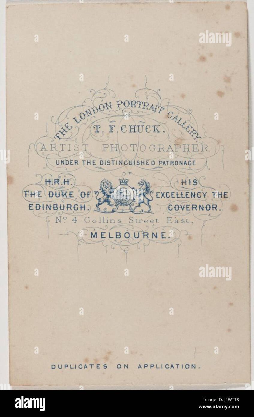 Thomas Foster Chuck Carte De Visite Verso 1868