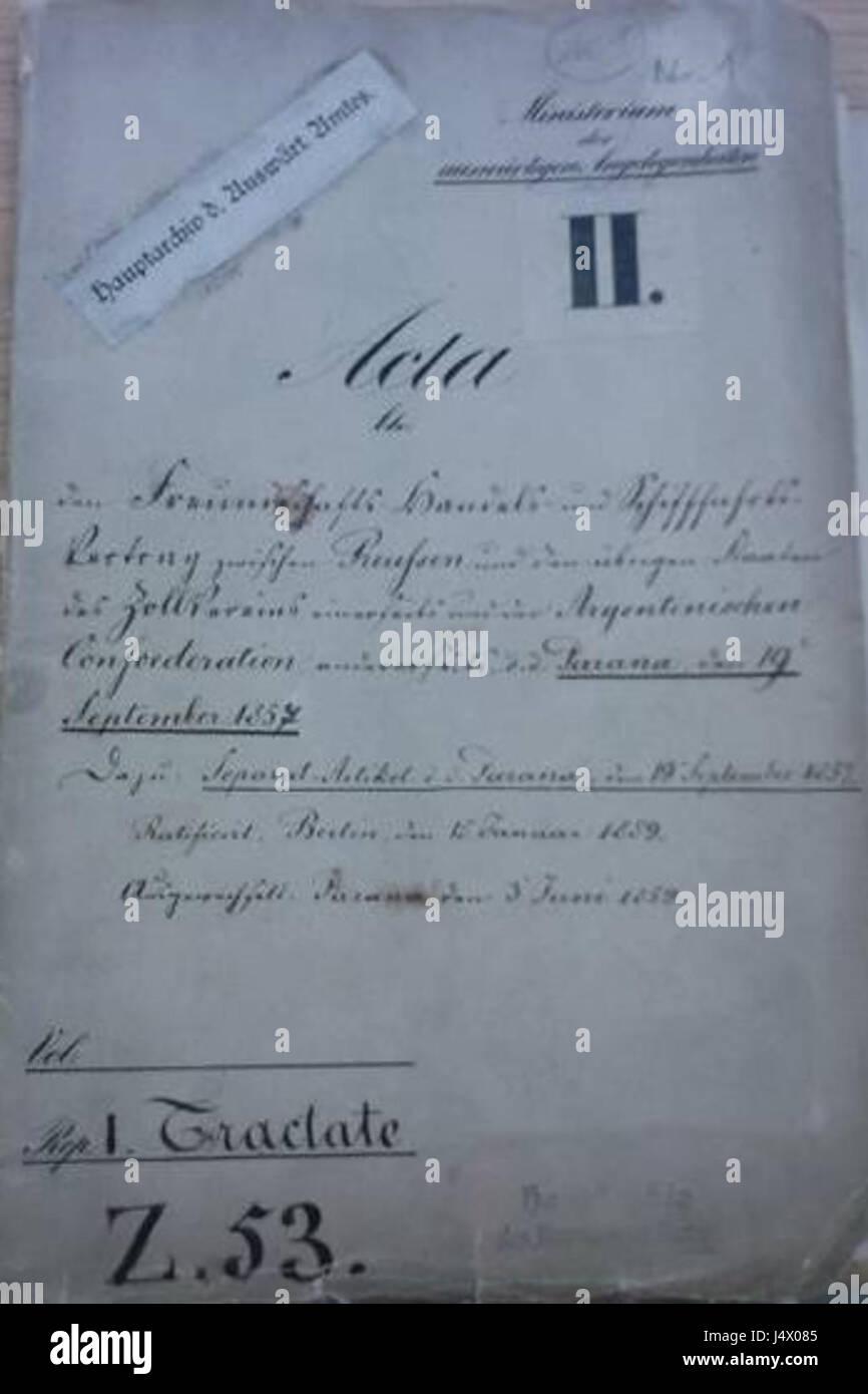 Tratado de 1857 entre Prusia y Argentina - Stock Image
