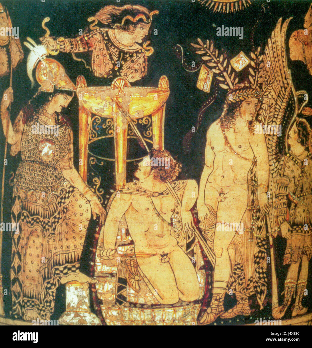 Theatre scene painted by Python, ancient Greek vase painter - Stock Image