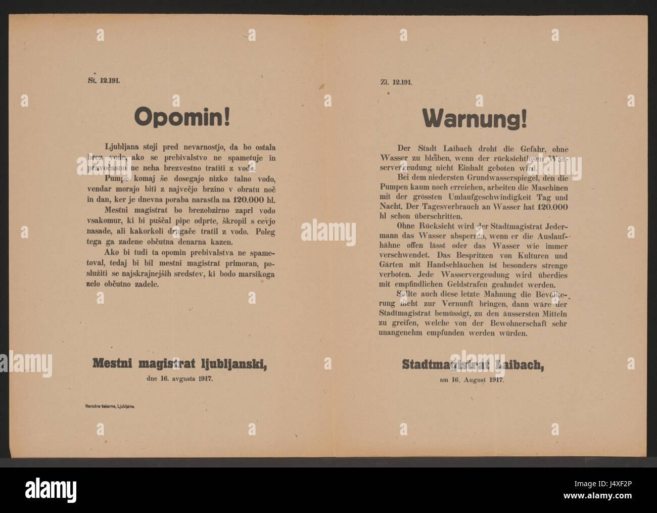Wasservergeudung   Warnung   Laibach   Mehrsprachiges Plakat 1917 Stock Photo