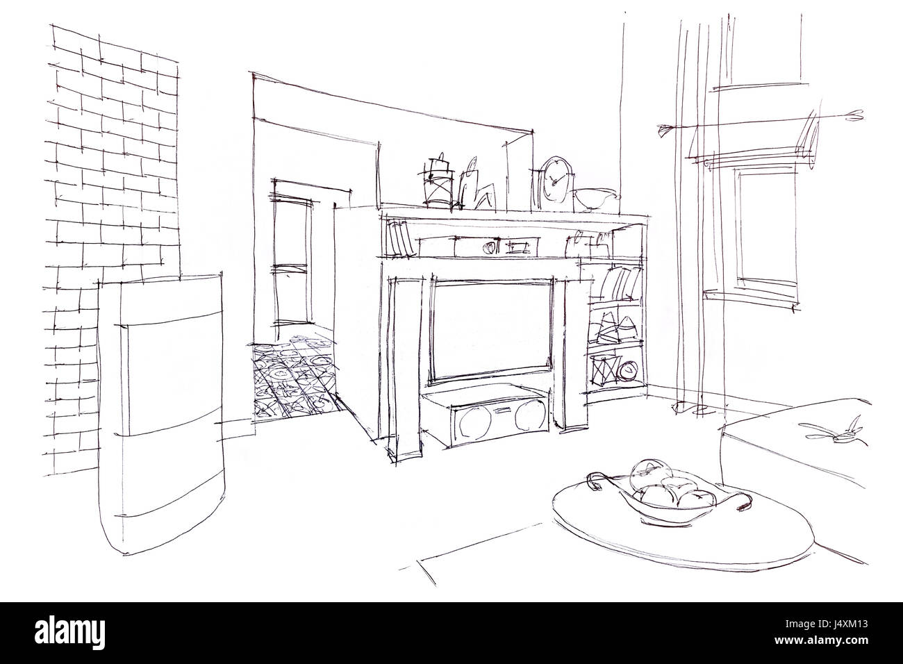 Modern Room Interior Graphical Sketch Of Living Room With Furniture