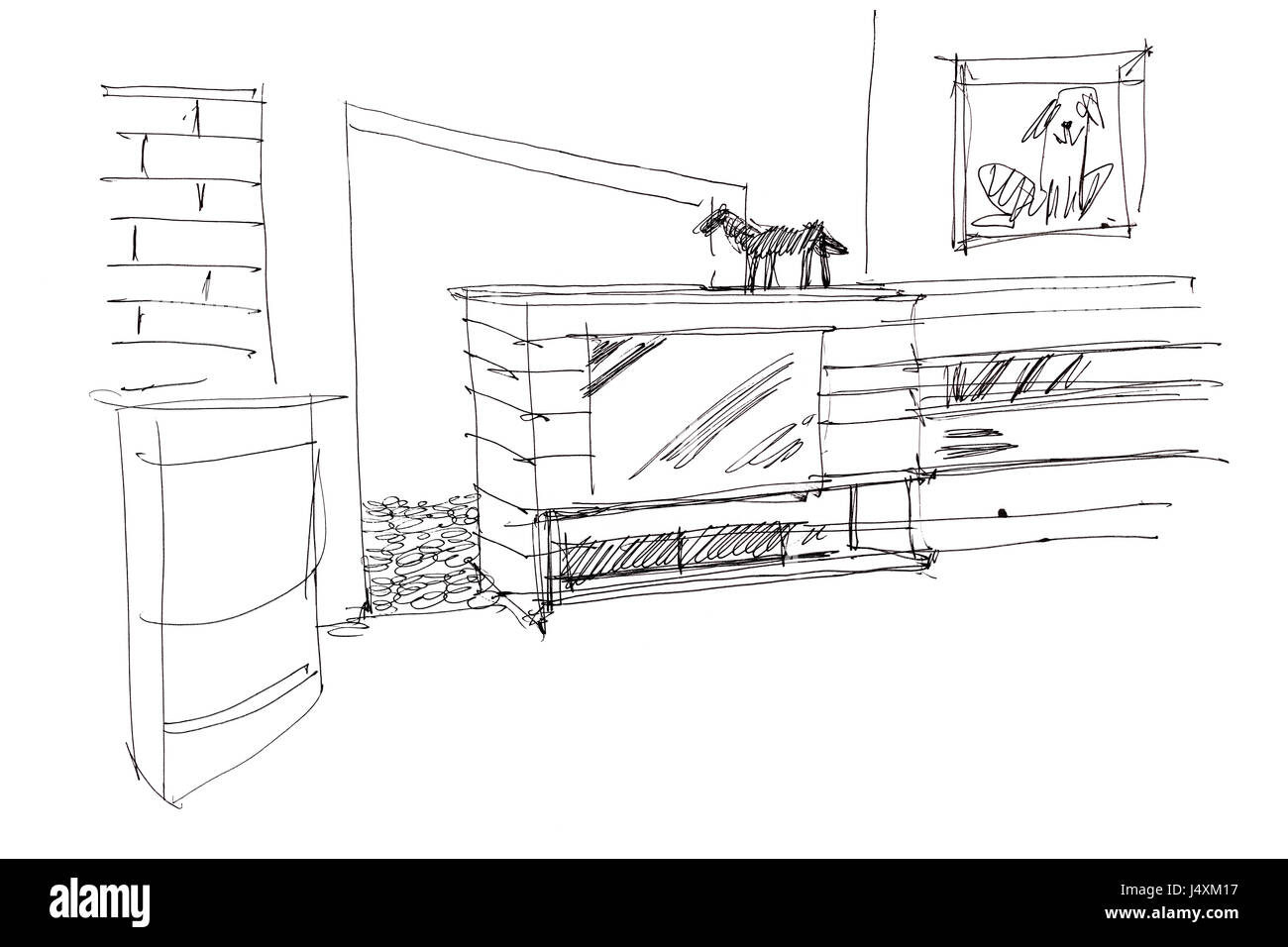 Designer Freehand Sketch Of Living Room Interior With Furniture