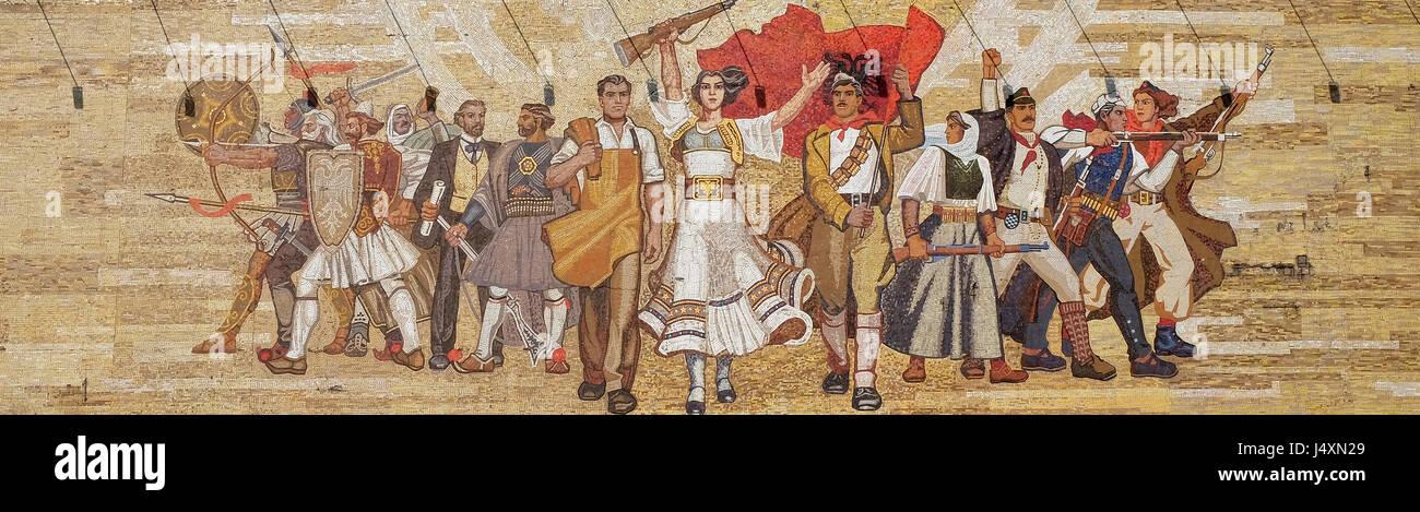 Mosaic above the National History Museum featuring Socialist propaganda and heroic revolutionary, Tirana, Albania - Stock Image